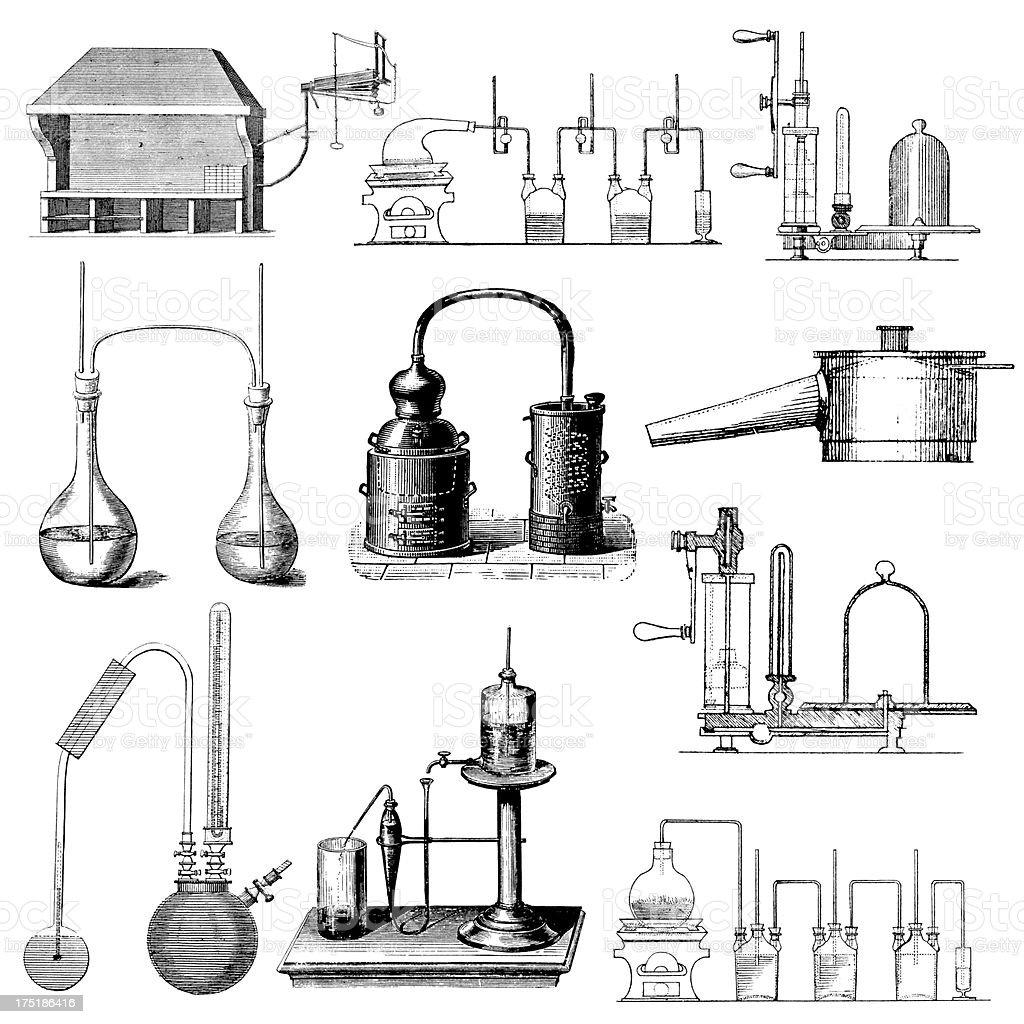 Chemical Laboratory Equipment | Antique Chemistry Scientific Clipart Illustrations vector art illustration