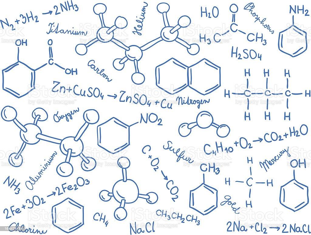 Chemistry background - molecule models and formulas vector art illustration