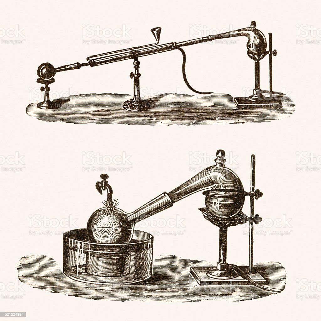 Chemistry experiment, 19th century science illustration vector art illustration