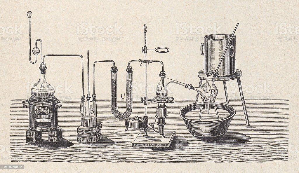 Laboratório química no passado, entalhes de madeira, publicado em 1880 - ilustração de arte em vetor