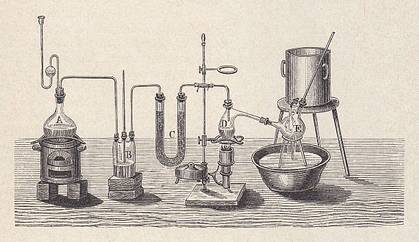 Chemistry laboratory in the past, wood engraving, published in 1880 vector art illustration
