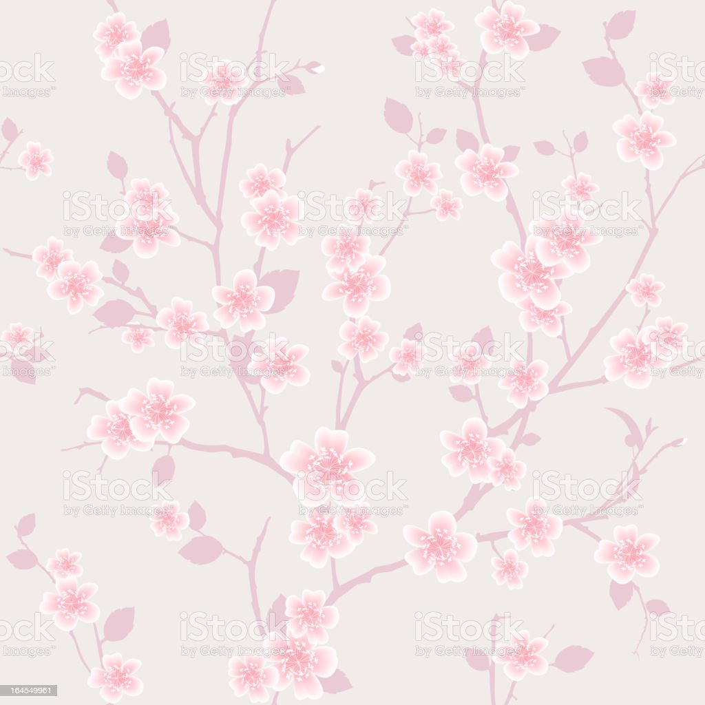Cherry Blossom Seamless Wallpaper Pattern royalty-free stock vector art