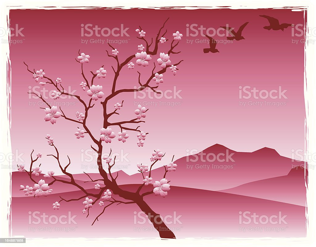 Cherry blossoms in asian inspired landscape royalty-free stock vector art
