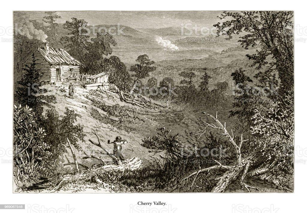 Cherry Valley, Delaware River Water Gap, Pennsylvania, United States, American Victorian Engraving, 1872 vector art illustration