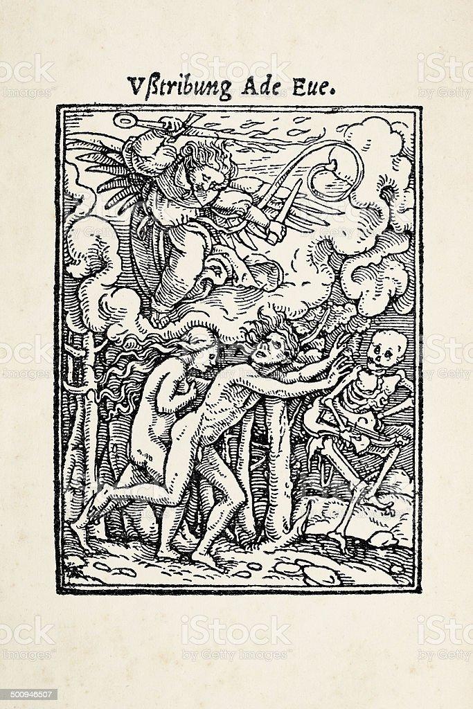 Cherubim angel expulsing Adam and Eve from Garden Eden royalty-free stock vector art