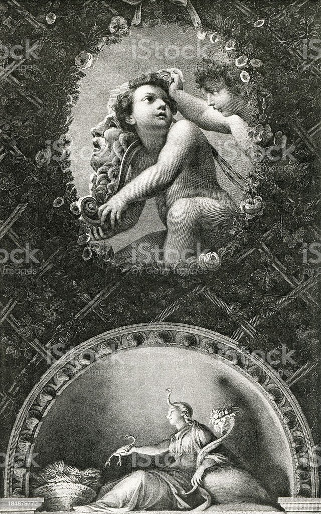 Cherubs With Mask royalty-free stock vector art