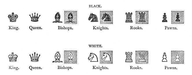 Chess figures (antique engraving)