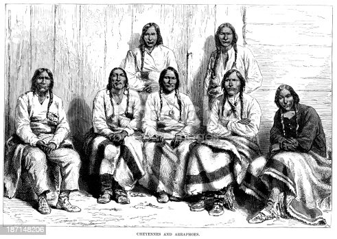 Vintage engraving showing Cheyenne and Arapaho Native Americans, 1873