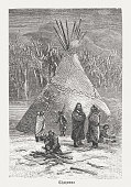Cheyenne, indigenous peoples of the Great Plains in the USA. Wood engraving, published in 1888.