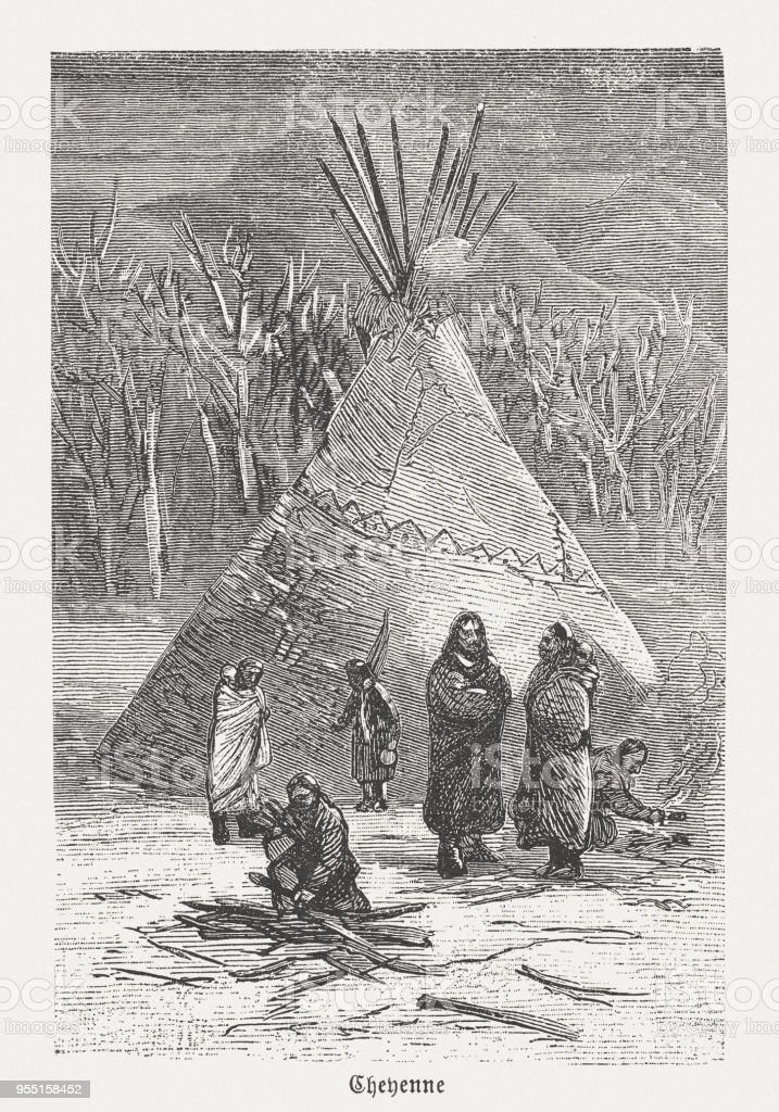 Cheyenne, indigenous peoples in the USA, wood engraving, published 1888 vector art illustration