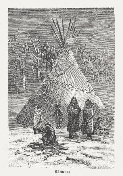 Cheyenne, indigenous peoples in the USA, wood engraving, published 1888 Cheyenne, indigenous peoples of the Great Plains in the USA. Wood engraving, published in 1888. teepee stock illustrations