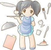 Chibi professions sets: Waitress