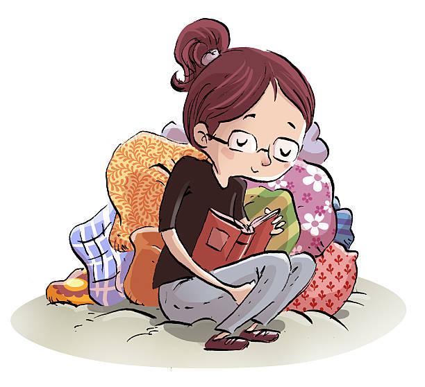 chica estudiante leyendo - estudiante stock illustrations