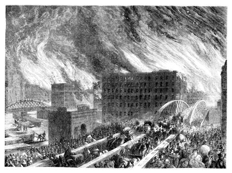 Chicago burning people escaping over Randolph Street Bridge 1871