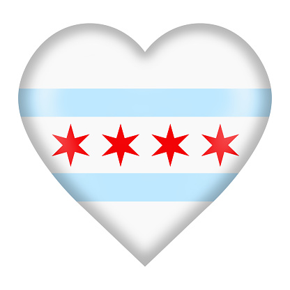 Chicago flag heart button isolated on white with clipping path