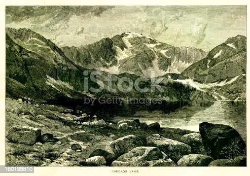Chicago Lake at the foot of Mount Evans, a mountain in the Front Range of the Rocky Mountains, Colorado, USA. Published in Picturesque America or the Land We Live In (D. Appleton & Co., New York, 1872).