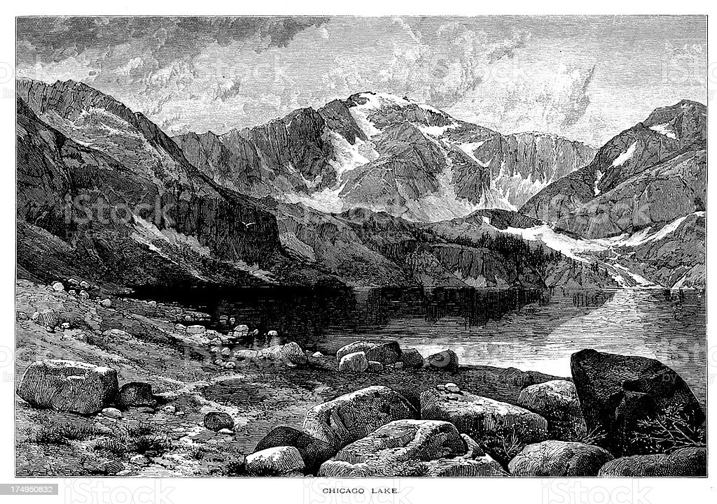 Chicago Lake at the foot of Mount Evans, Colorado royalty-free chicago lake at the foot of mount evans colorado stock vector art & more images of 19th century