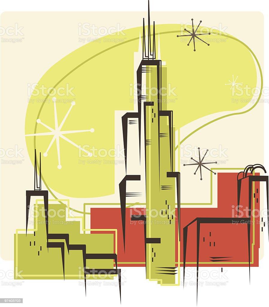 Chicago Retro vector art illustration
