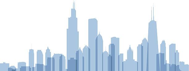 ilustraciones, imágenes clip art, dibujos animados e iconos de stock de chicago skyline silhouette - chicago