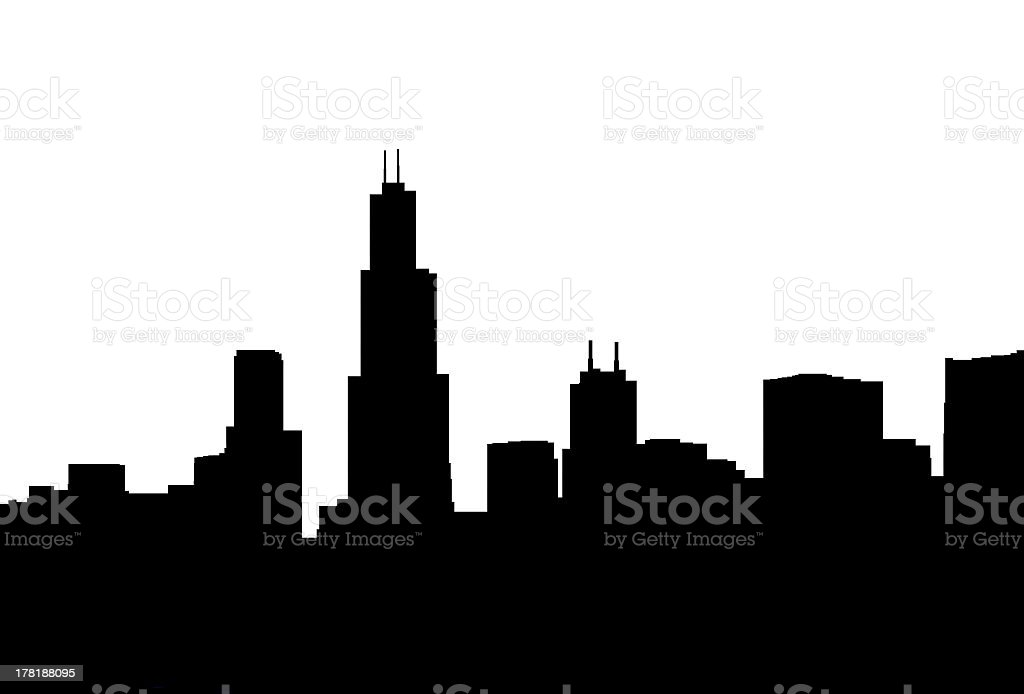 royalty free chicago skyline night clip art vector images rh istockphoto com chicago skyline vector download chicago skyline flag vector