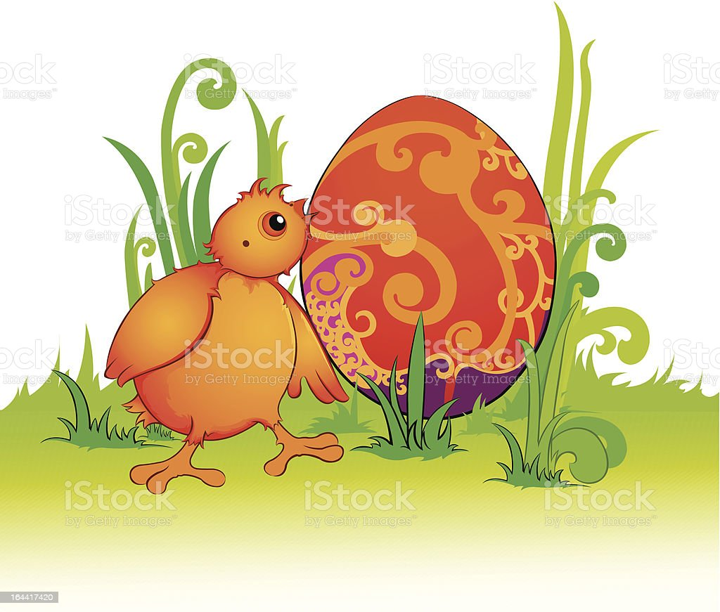 Chicken and Easter egg royalty-free stock vector art