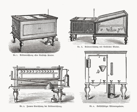 Chicken breeding incubators, wood engravings, published in 1893