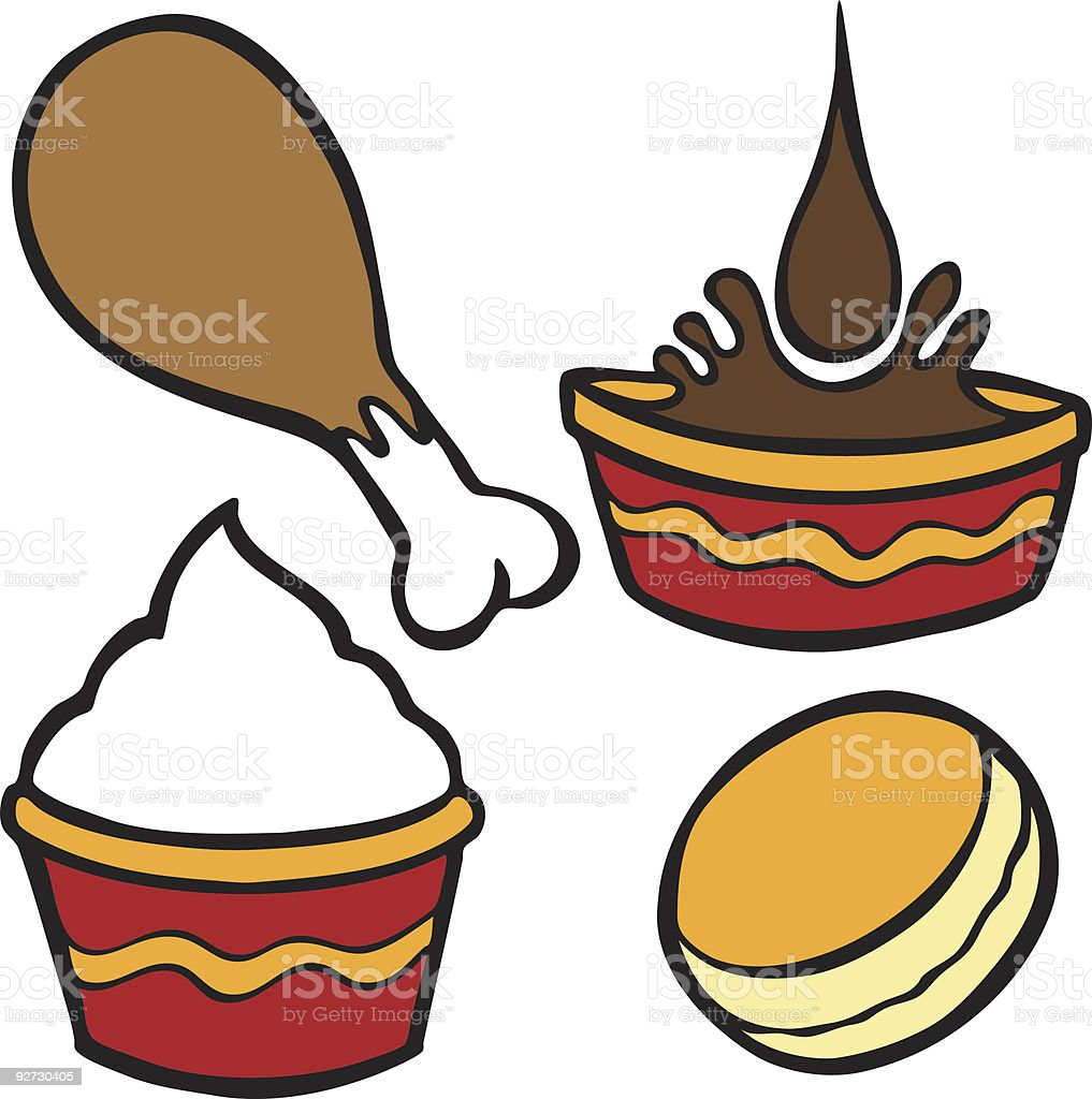 Chicken Meal Set vector art illustration