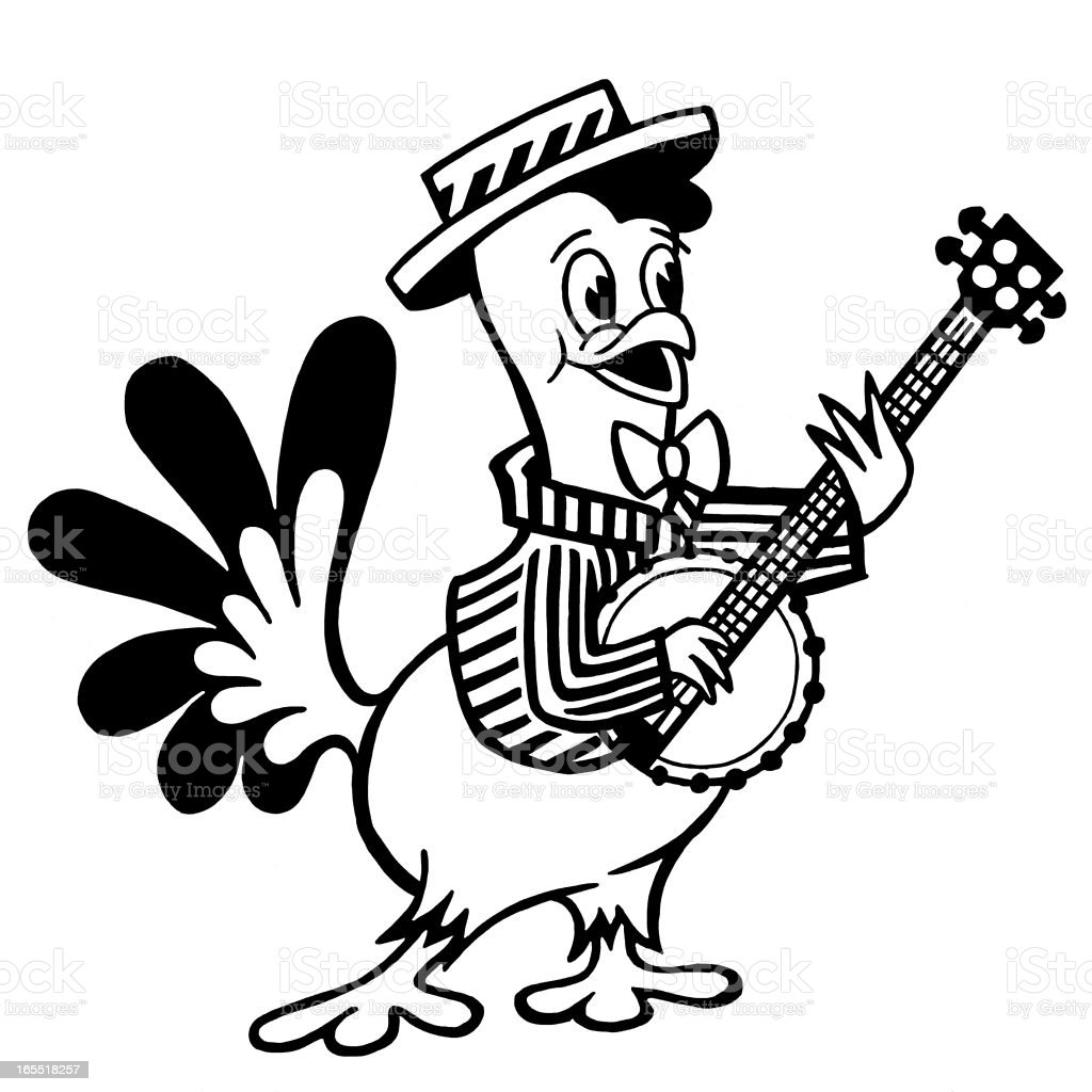 A Chicken Playing the Banjo vector art illustration