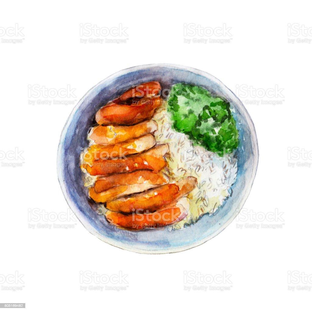 Teriyaki de frango com arroz e legumes, aquarela ilustração isolado no fundo branco. - ilustração de arte em vetor