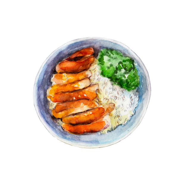 chicken teriyaki with rice and vegetables, watercolor illustration isolated on white background. - thai food stock illustrations, clip art, cartoons, & icons
