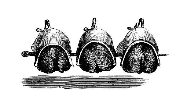 ilustraciones, imágenes clip art, dibujos animados e iconos de stock de las gallinas preparado en la cocina a la parrilla y antiguas ilustraciones - comida española
