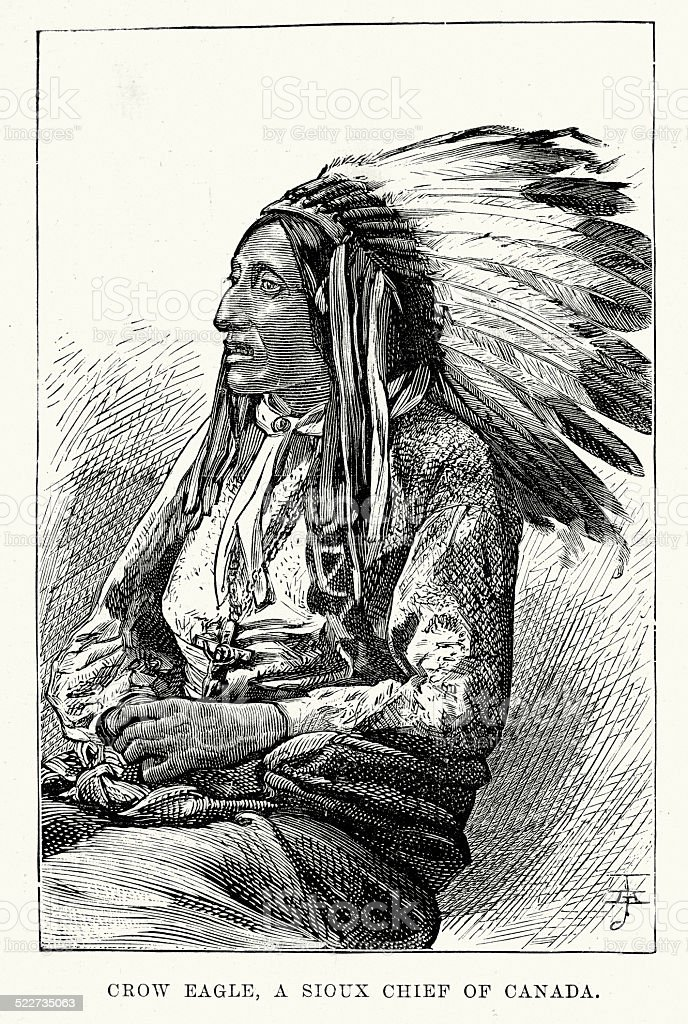 Chief Crow Eagle a Sioux Native American vector art illustration