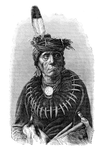 Chief of the Dakota tribe 1889 Original edition from my own archives Source : Razas Humanas 1889