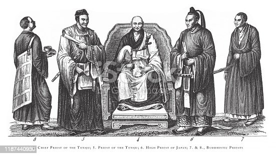 Chief Priest of the Temple, Priest of the Temple, High Priest of Japan, Buddhistic Priests, Religious Scenes, Symbols and Figures of China, Japan and Indonesia Engraving Antique Illustration, Published 1851., Source: Original edition from my own archives. Copyright has expired on this artwork. Digitally restored.