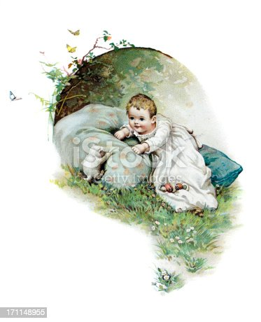 Child with Kitten19th Century Illustration by Harriett M Bennett