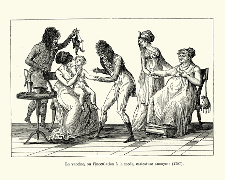 Child being given a Vaccine by a doctor, late 18th Century