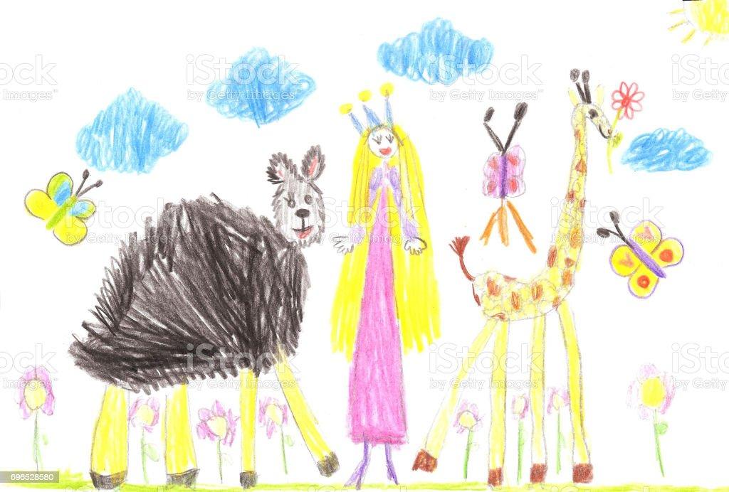 Vetores de Criança Desenhos Animados Mão Extraídas De Animais Engraçados E Princesa e mais imagens de Animal - iStock