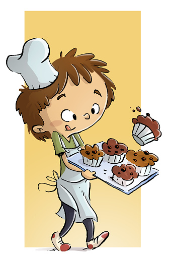 Child cook with muffins