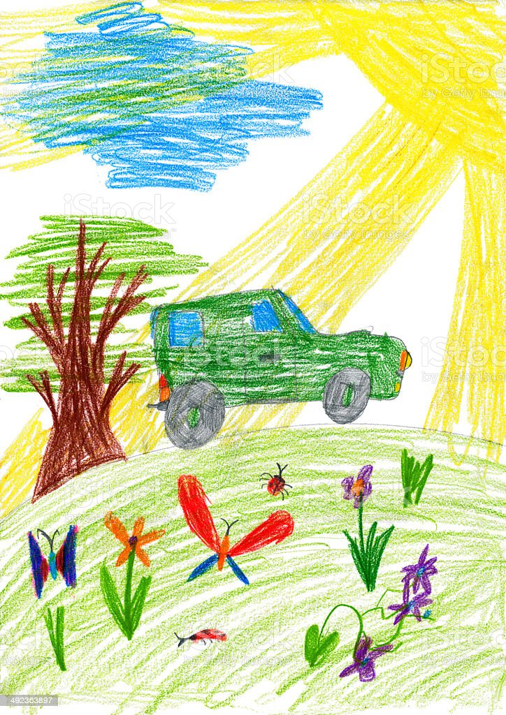 child drawing. car rides on a meadow vector art illustration