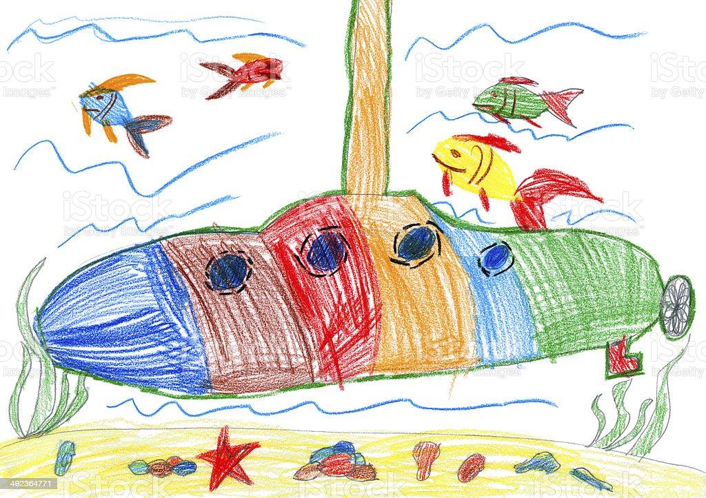 child drawing. submarine and sea life vector art illustration