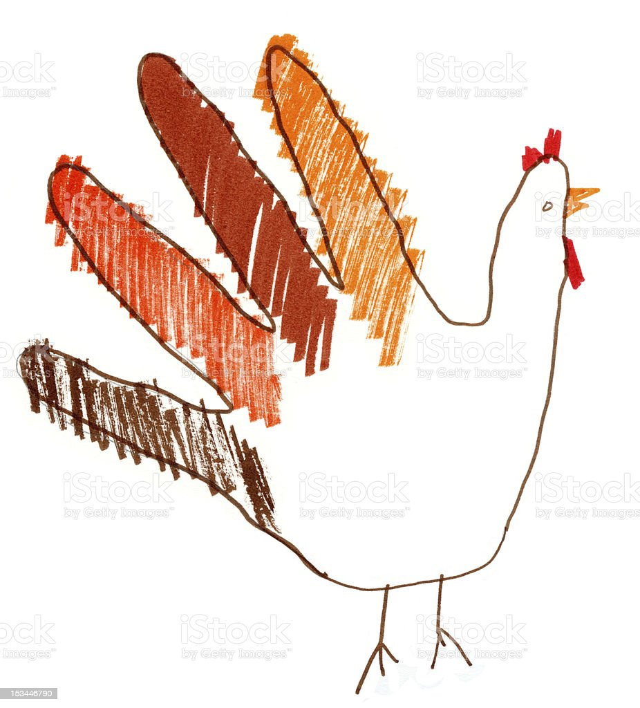 Child Drawing Turkey Hand Thanksgiving royalty-free stock vector art