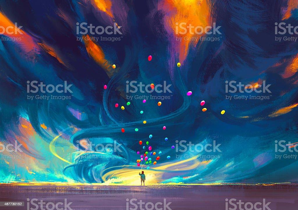 Niño sostiene los globos de pie delante de fantasía storm - ilustración de arte vectorial