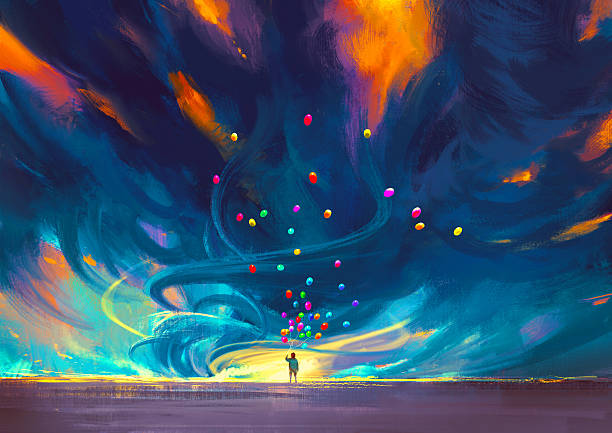 stockillustraties, clipart, cartoons en iconen met child holding balloons standing in front of fantasy storm - acrylverf