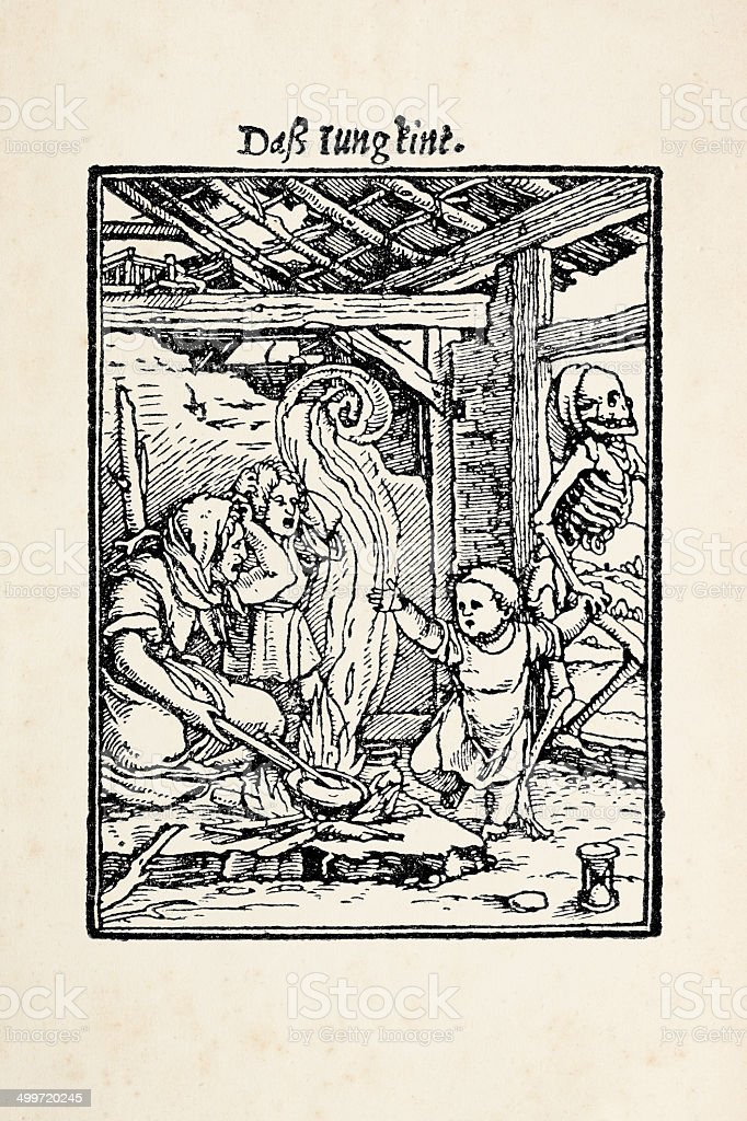 Child kidnapped by skeleton from dance of death after Holbein royalty-free child kidnapped by skeleton from dance of death after holbein stock vector art & more images of 16th century