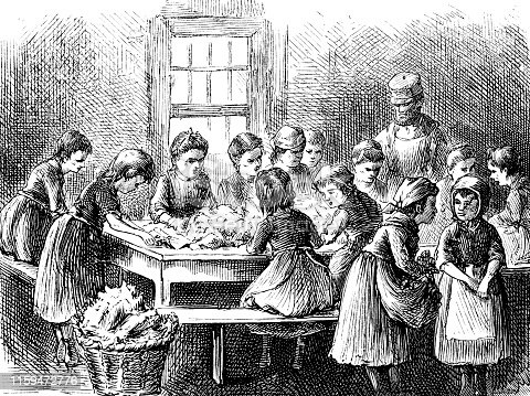 Engraving from 1873 showing children stripping tobacco in New York.