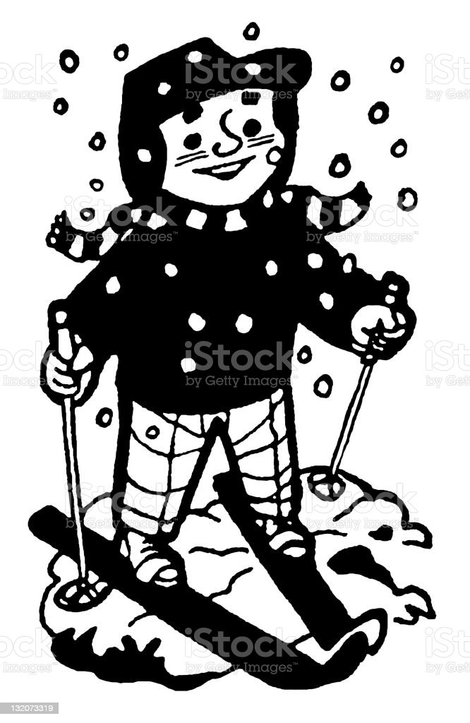 Child on Skis royalty-free stock vector art