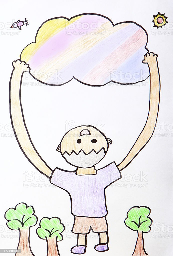 Child Painting - kid happy hug colorful cloud royalty-free stock vector art