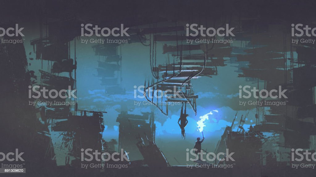 child with a flaming torch standing in the weird city vector art illustration