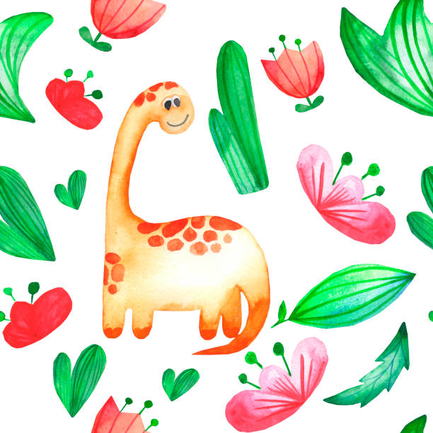 Childish hand drawn watercolor pattern with cute dinosaurs. Childish hand drawn watercolor pattern with cute dinosaurs. Perfect for kids apparel, textile, fabric, nursery. on white background garden center stock illustrations