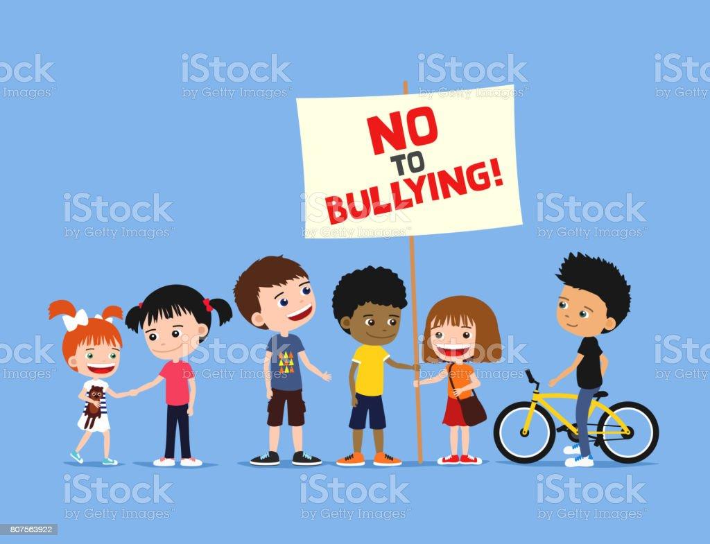 Children against bullying. Diverse group of kids holding protest sign. vector art illustration